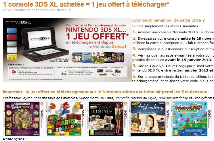 BON PLAN ! 1 Console 3DS XL Achetée = 1 Jeu Offert à Télécharger