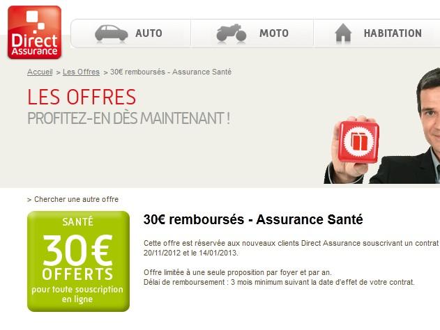 30 euros rembours s sur votre assurance sant direct assurance. Black Bedroom Furniture Sets. Home Design Ideas