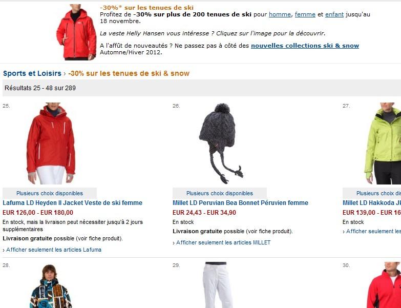 Bon plan ! Moins 30% sur les vêtements et tenues de ski/snowboard chez Amazon