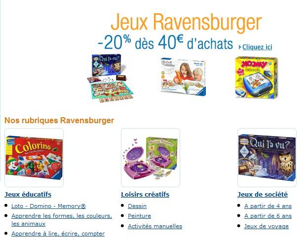 code promo 20 pourcents de reduction sur les jeux ravensburger pour 40 euros mini jusqua demain seulement Opération 2 jeux Ravensburger achetés = 1 jeu à 1 euros (ODR)