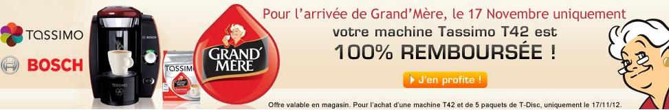 machine tassimo T42 100 pourcents remboursee 17 novembre 2012 9 euros la Cafetière à dosette Tassimo Bosch  (après ODR de 90 euros)