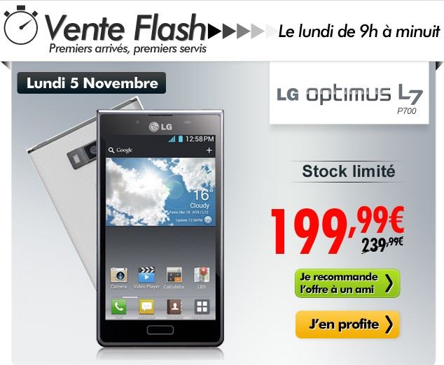 vente flash smartphone lg optimus l7 d bloqu tout op rateur moins de 200 euros. Black Bedroom Furniture Sets. Home Design Ideas