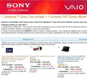860 euros l'Ultrabook tactile Sony Vaio  + 1 console PSP Street gratuite (jusqu'à dimanche soir)