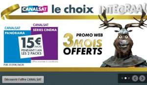 CanalSat pack Panorama et Series Cinema a 15 euros par mois au lieu de 39 euros plus 3 mois gratuits avec le code 3NCS