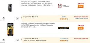 Chargeur USB Portable Duracell 1800 mAh le moins cher du net