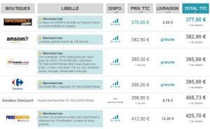 Le Packard Bell Easynote TE11BZ-E304G75 le moins cher (entre 377 et 425 euros chez Gros Bill, Pixmania, Carrefour, Auchan, PriceMinister…)