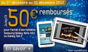 Samsung vous rembourse 50euros pour achat tablette Samsung Galaxy Tab 2.
