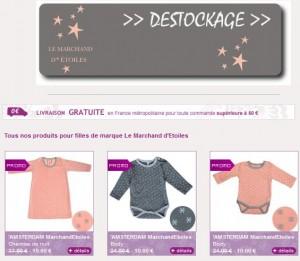 Déstockage Moins 50% et plus sur les vêtements 0-12 ans Le Marchand d'Etoiles (de 5 à 15 euros)