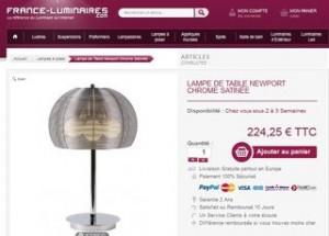 lampe de table Newport chez France Luminaire