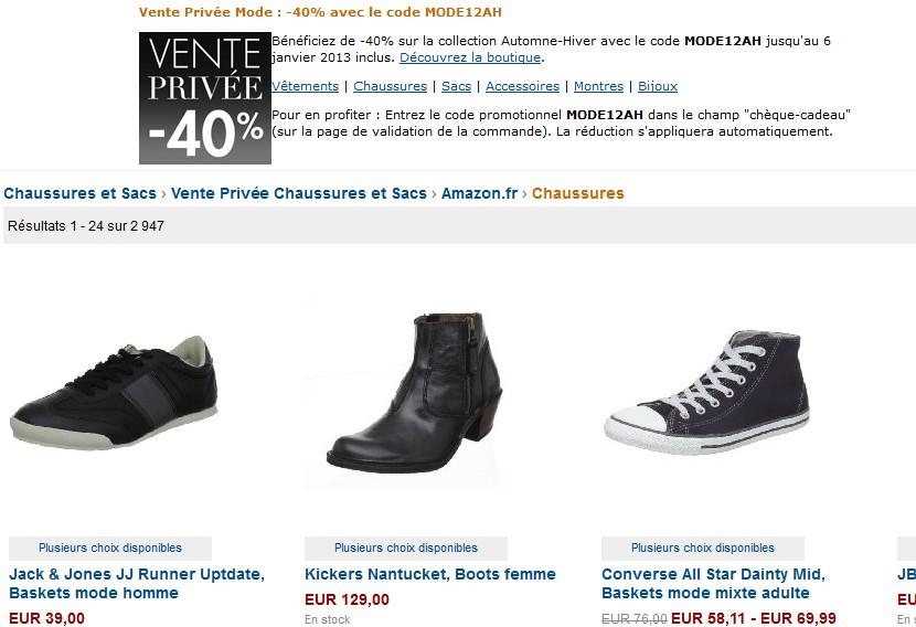 Moins 40% sur les chaussures chez Amazon (code promo)
