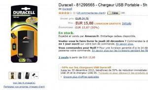 MOITIE PRIX ! Chargeur USB Portable Duracell 1800 mAh pour 15,88 euros (livraison gratuite)