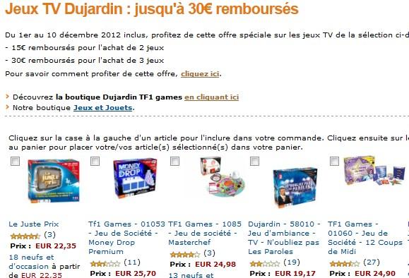 Offre remboursement jeux dujardin tf1 games jusqu 30 for Dujardin tf1