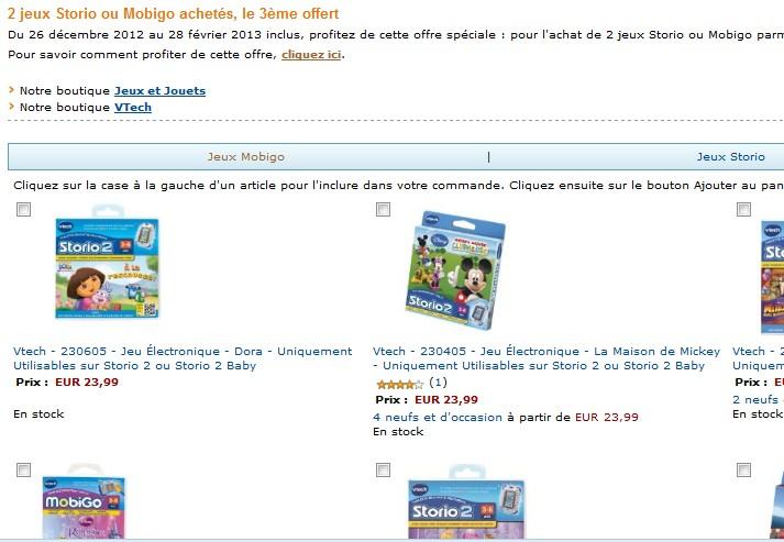offre speciale jeu storio 1 et 2 ou mobigo 2 jeux achetes 1 jeu gratuit odr ODR : 10 euros remboursés sur Storio 2 et Storio 2 baby de Vtech