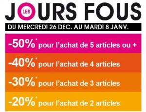 PROMO KIABI ! 5 articles achetés = 50% de réduction immédiate (-40% pour 4 articles, -30% pour 3 articles, -20% pour 2 articles)