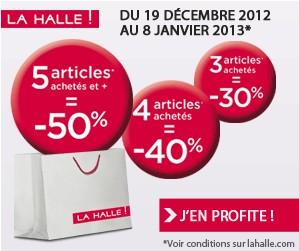 PROMO LA HALLE ! 5 articles achetés = 50% de réduction immédiate (-40% pour 4 articles, -30% pour 3 articles)