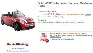 PROMO Mini Cooper de Ken Barbie à seulement 25,04 euros (port inclus) au lieu de plus de 40 euros