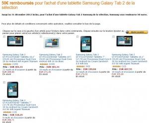 Tablette Samsung Galaxy Tab 2 10 pouces à 250 euros ou Galaxy Tab 7 pouces à 149 euros port inclus (après remboursement de 50 euros)