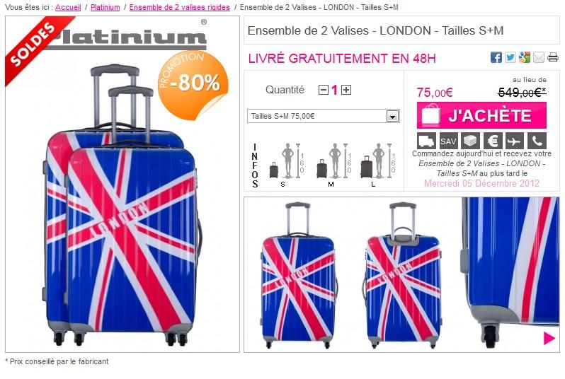 Moins 80 ensemble de 2 valises rigides tailles s m - Code reduction vente privee frais port gratuit ...