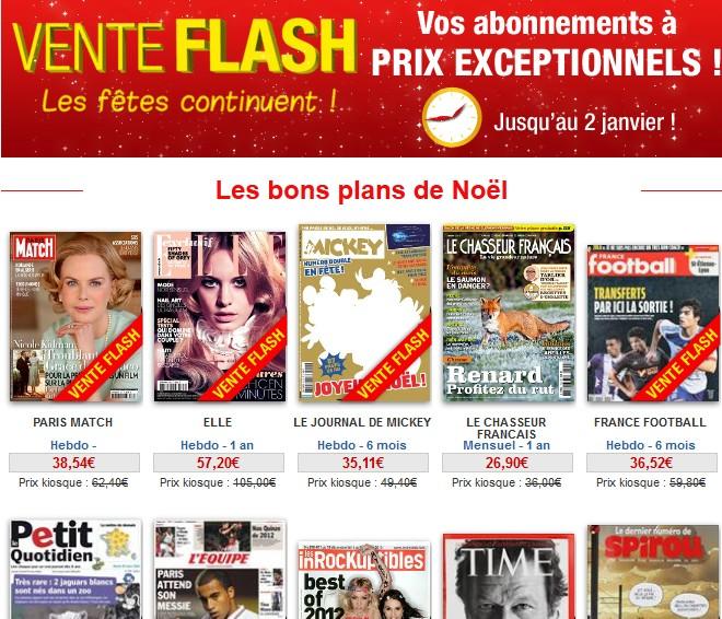 Vente flash jusqu'à -80% sur les abonnements revues/journaux