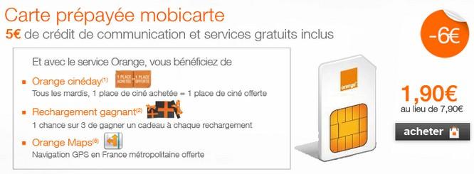 carte sim orange mobicarte CARTE SIM MOBICARTE ORANGE A SEULEMENT 1,90 EUROS (PORT INCLUS) au