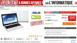 399 euros le PC portable Asus (15,6'', LED, Intel Pentium B980, Ram 8Go, DD 750Go, Windows 8) au lieu de 547 euros