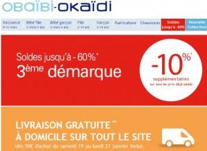 3éme démarque Okaïdi et Obaïbi jusqu'à moins 60% + 10% supplémentaires + livraison gratuite