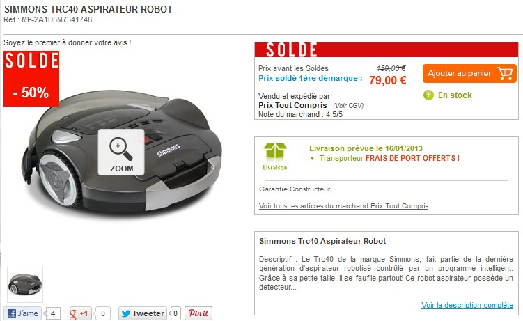soldes aspirateur robot simmons a 79 euros au lieu du double. Black Bedroom Furniture Sets. Home Design Ideas