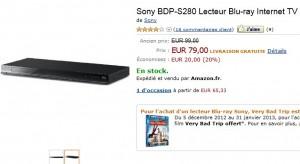 79 euros : Lecteur Blu-Ray/DVD/Internet Sony BDP-S280 + Blu-ray Very Bad Trip gratuit – livraison gratuite