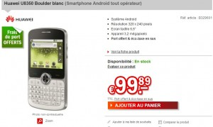 """moins de 100 euros le Smartphone Huawei U8350 Boulder blanc (Android/ ecran 2,6""""/Ap. photo 3,2 mpx) débloqué (port inclus) – 150 euros ailleurs"""