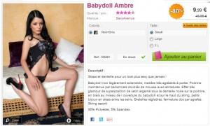 Babydoll Ambre pas chere sexy