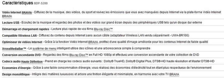 Lecteur Blu Ray Sony Bdp S280 Caracteristiques Lecteur Blu Ray Sony Bdp S280