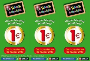Opération 2 jeux Ravensburger/Nathan achetés = 1 jeu à 1 euros (ODR) - 2013