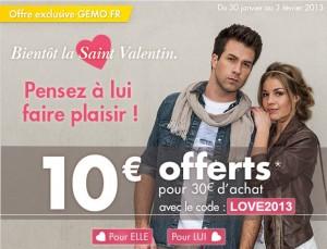 Code promo GEMO 10 euros  pour 30 euros d'achat jusqu'au 3 février