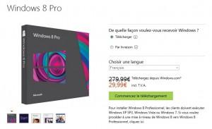 Derniers jours Windows 8 à 29,99 euros (téléchargement) au lieu de 279 euros