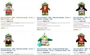 Entre 3 et 4 euros la peluche animée Koo Koo Birds (entre 10 et 15 euros ailleurs)