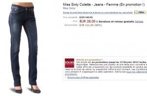 Jean femme Miss Sixty à 28 euros (port inclus) au lieu de 140 euros – quantité limitée
