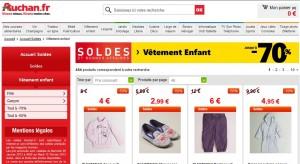 Jusqu'à moins 70% sur les vêtements enfants sur Auchan.fr