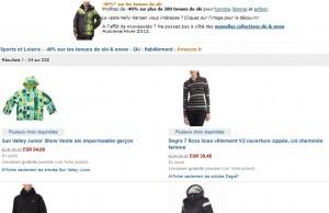 Moins 40% sur les tenues de ski (vestes, gants, combinaisons…)
