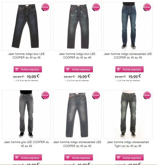Moins 50% sur les jeans Lee Cooper chez VetAffaires (19,99 euros)