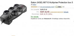 Multiprise Protection/ parafoudres box 5 intègre Compatible CPL Eaton à seulement 16,40 euros (port inclus) au lieu de 27 euros
