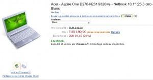"""Netbook Acer Aspire One 10,1"""" (Intel Atom, 320 Go, Windows 7) blanc ou noir à seulement 189,90 euros (port inclus)"""