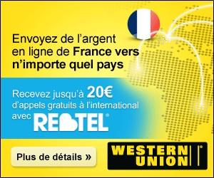 Offre Western Union : envoyez de l'argent à l'étranger et recevez jusqu'à 20 euros de communication gratuite Rebtel
