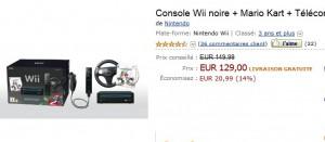 PROMO Console Wii noire + Jeu Mario Kart + Télécommande Wii Plus et Volant Wii noir à seulement 129 euros (entre 135 et 160 ailleurs)