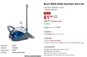 Soldes ! Aspirateur Sans Sac Bosch à seulement 61,90 euros au lieu de 153,90 euros