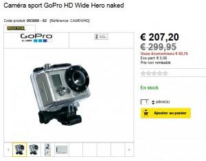 Soldes Caméra sport GoPro HD Wide Hero naked à seulement 214,15 euros (port inclus)