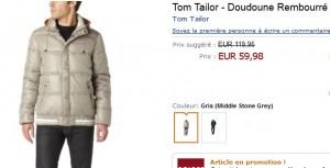Soldes Doudoune Tom Tailor à 59,98 euros (port inclus) au lieu de 119 euros
