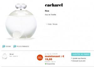 Eau de Toilette Noa Cacharel 30ml à seulement 19,95 euros (vendu entre 37 et 39 euros normalement)