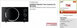 Soldes four micro-ondes Daewoo noir à seulement 79 euros (port inclus)