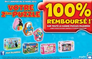 Un Puzzle Dujardin acheté = le 2ème 100% remboursé (ODR)