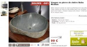 Vasque en pierre authentique de rivière à seulement 123,90 euros (port inclus) au lieu du double